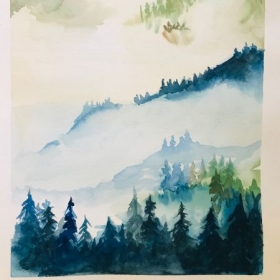 watercolor misty forest