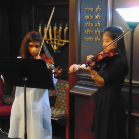 Two of my Takelesson adult students performing a due at the spring recital.