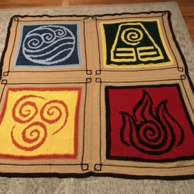 "A blanket based on the show ""Avatar."" Pattern created by Kim Kiser.