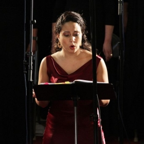 Performance with Mimesis Ensemble singing as Mary Magdalene in Grullon's El Caminante de Nazaret