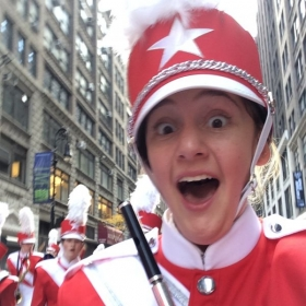 Performing with the Macy's Great American Marching Band in the Macy's Thanksgiving Day Parade. New York City, NY