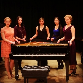 "Alessandra (left) after the annual ""Pianissimo!"" concert at the University of Montana."