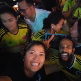 Colombia has nice fans!  One of the aficionadas allowed me to wear her jersey for this picture!