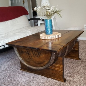 This is a bourbon barrel coffee table that I built with one of my daughters.  No drawers in this, but it sure looks nice!