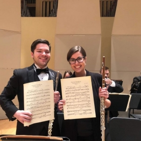 "My flute professor and I, after playing Prokofiev's ""Classical Symphony"" in the Bryan Symphony Orchestra."