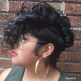 Natural hair cut and styled
