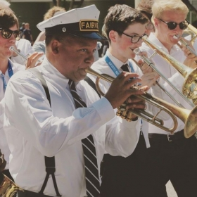 Marching around with Wynton Marsalis