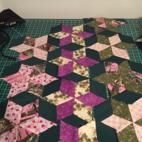 Quilt top from a class I took last year.
