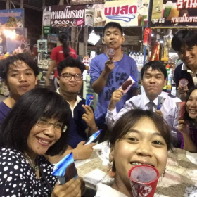 I treated my Thai students to dinner and ice cream two days before I left for New York. September 2018.