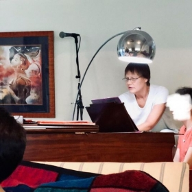 Most recent photo of teaching in my studio.