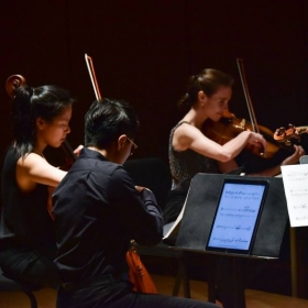 Performing chamber music at the Bowdoin International Music Festival, 2018