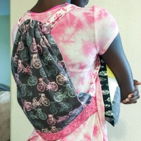 Beginner sewing lesson project- drawstring backpack