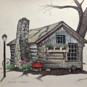 Thorp Cabin, Fish Creek, Wi Pen & Ink and colored pencil