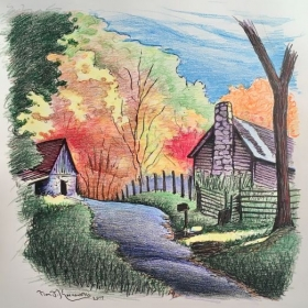 Country Fall Scene, Ink & Colored Pencil