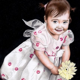 Little Girl with a Flower, colored pencil