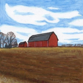 The Red Barn, Oil Pastel