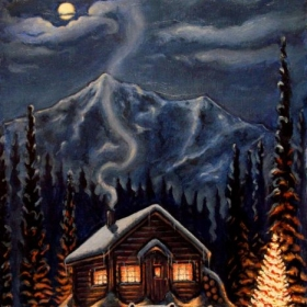 Christmas Cottage, Oil painting