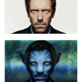 Advanced Photoshop techniques: Hugh Laurie transformed into an Avatar as in the James Cameron's movie.