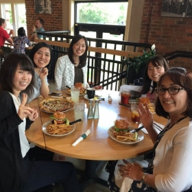 Tanya is taking a break to say farewell to one of her students who is returning to Japan.