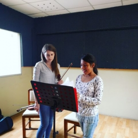 Working with a young student in Trujillo, Peru.