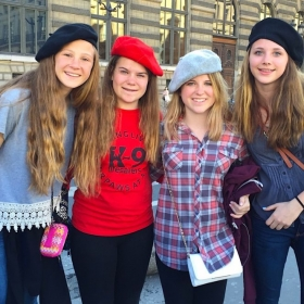 My students rocking berets on a trip to Paris with me.