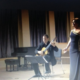Carolyn performing in Arizona State University Doctoral Recital with guitarist Jonathan Crissman, 2014.