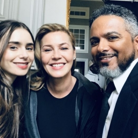 Actor Lily Collins and Connie Nielsen on the set of feature film Inheritance
