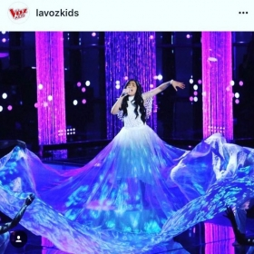 Custom made Super Long Sheer Skirt designed and made by yours truly Melissa G. (La Voz Kids -Telemundo_Season 4