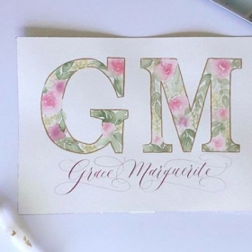 Watercolor Floral Letters and Calligraphy Name