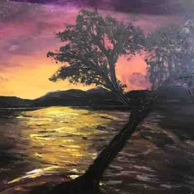 Acrylic Sunset, mountain range, silhouette tree, water  On stretch canvas.