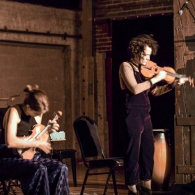Performing with my violin duo at Art Share LA