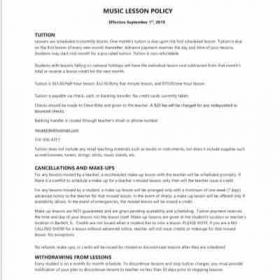 Music Lesson Policy effective September 1st, 2019