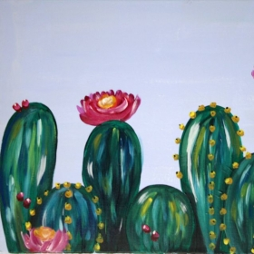 Therapeutic instructional cactus painting. Perfect decor for any room in the house!  Book with me today!
