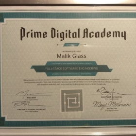 Certificate from Prime Digital Academy