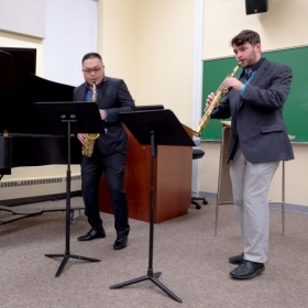 Playing soprano in the Bessozi Trio in a recital at Duquesne University preparing for the Fischoff Competition.
