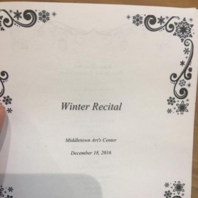 Program from a student recital I hosted in 2016