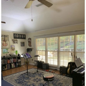 Our studio is not your typical music store lesson room. Our studio is spacious, clean, and smoke-free.