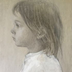 Portrait of my son Grisha Silverpoint on Wood