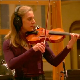 Lauren recording the Fiddler on the Roof cast album (2019)