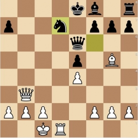 The Opera Game, played by legendary chess prodigy Paul Morphy. It's white to move and to checkmate in two moves.