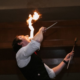 Fire eating on stage