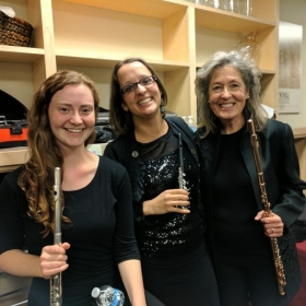 With Emma Shubin (center) and Mary Beth Norris (right) after a concert with the Steamboat Symphony Orchestra in 2017.