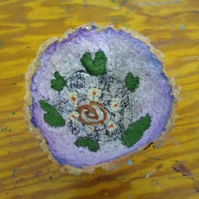 Paper Mache bowl made from paper pulp and glue