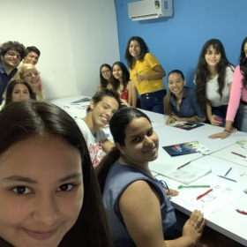 Happy students and me (the blonde with glasses) :)