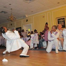 Showing off my dance skills during the wedding reception =)