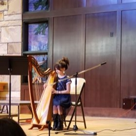 One of my young students performing for her first Christmas concert.