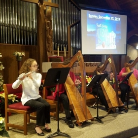 Playing at a Christmas worship service; six harps and and flute. Loved it~