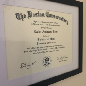 Degree from the Boston Conservatory of Music