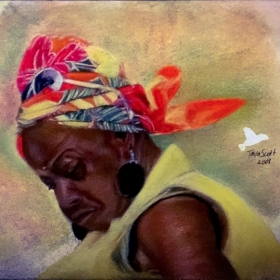 Pastels on watercolor paper.