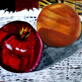 Apple and Orange Acrylic Still Life Painting